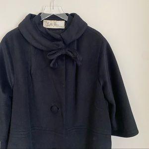 LILLI ANN PARIS black mock neck bow swing coat